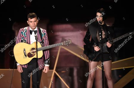 "Sufjan Stevens, St. Vincent, Moses Sumney. Sufjan Stevens, left, and St. Vincent perform ""Mystery of Love"" from the film ""Call Me By Your Name"" at the Oscars, at the Dolby Theatre in Los Angeles"
