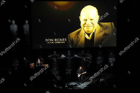 Don Rickles appears on screen as Eddie Vedder performs during an In Memoriam tribute at the Oscars, at the Dolby Theatre in Los Angeles