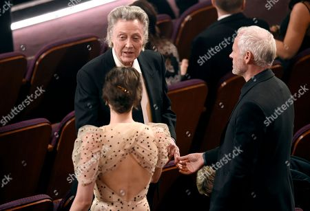 Christopher Walken, Phoebe Waller-Bridge, Martin McDonagh. Phoebe Waller-Bridge, from left, Christopher Walken, and Martin McDonagh speak in the audience at the Oscars, at the Dolby Theatre in Los Angeles
