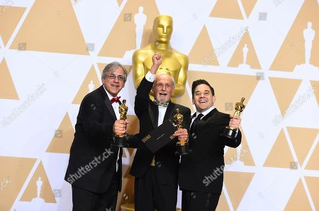 """Mark Weingarten, Gregg Landaker, Gary A. Rizzo. Mark Weingarten, from left, Gregg Landaker, and Gary A. Rizzo, winners of the award for best sound mixing for """"Dunkirk"""", pose in the press room at the Oscars, at the Dolby Theatre in Los Angeles"""