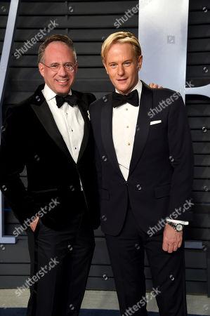 Andrew Saffir, Daniel Benedict. Andrew Saffir, left, and Daniel Benedict arrive at the Vanity Fair Oscar Party, in Beverly Hills, Calif