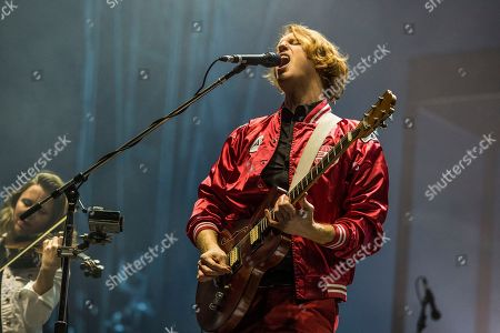 Richard Reed Parry of Arcade Fire performs at the Okeechobee Music and Arts Festival, in Okeechobee, Fla