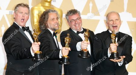 (L-R) Richard R. Hoover, Paul Lambert, Gerd Nefzer and John Nelson, winner of the Best Visual Effects Award for 'Blade Runner 2049', pose in the press room during the 90th annual Academy Awards ceremony at the Dolby Theatre in Hollywood, California, USA, 04 March 2018. The Oscars are presented for outstanding individual or collective efforts in 24 categories in filmmaking.