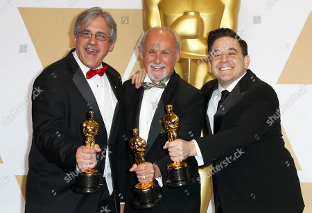 """(L-R) Mark Weingarten, Gregg Landaker and Gary Rizzo, winners of the """"Sound Mixing"""" award for Â?'Dunkirk'Â?, pose in the press room during the 90th annual Academy Awards ceremony at the Dolby Theatre in Hollywood, California, USA, 04 March 2018. The Oscars are presented for outstanding individual or collective efforts in 24 categories in filmmaking."""