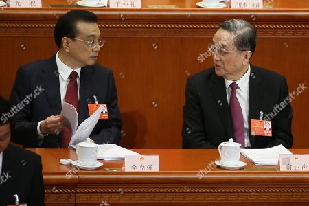 Stock Picture of Yu Zhengsheng and Li Keqiang
