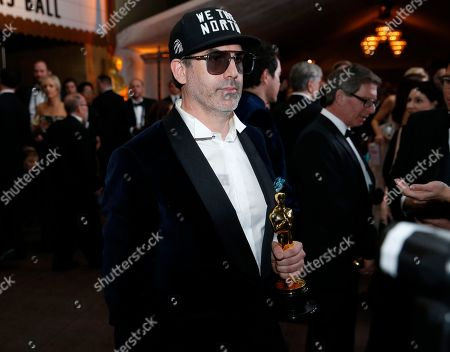 """Shane Vieau, winner of the award for best production design for """"The Shape of Water"""", attend the Governors Ball after the Oscars, at the Dolby Theatre in Los Angeles"""