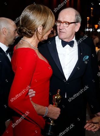 """Allison Janney, Richard Jenkins. Allison Janney, winner of the award for best performance by an actress in a supporting role for """"I, Tonya"""", left, and Richard Jenkins attend the Governors Ball after the Oscars, at the Dolby Theatre in Los Angeles"""