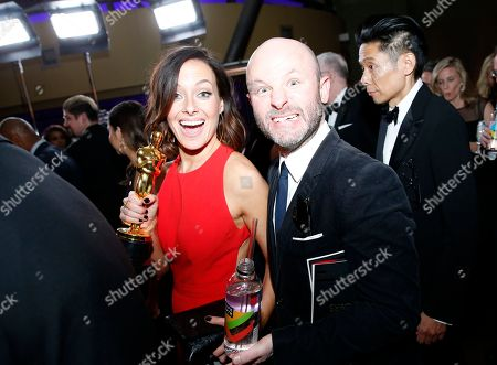 "Lucy Sibbick, David Malinowski. Lucy Sibbick, left, and David Malinowski, winners of the award for best makeup and hairstyling for ""Darkest Hour"", attend the Governors Ball after the Oscars, at the Dolby Theatre in Los Angeles"