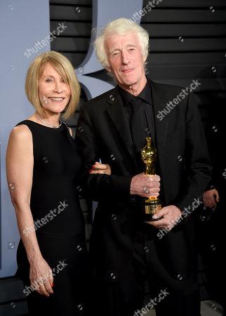 "Isabella James Purefoy Ellis, Roger Deakins. Isabella James Purefoy Ellis, left, and Roger Deakins, winner of the award for best cinematography for ""Blade Runner 2049"", arrive at the Vanity Fair Oscar Party, in Beverly Hills, Calif"