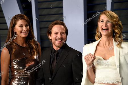 Jill McCormick, Eddie Vedder, Laura Dern. Jill McCormick, from left, Eddie Vedder, and Laura Dern arrive at the Vanity Fair Oscar Party, in Beverly Hills, Calif