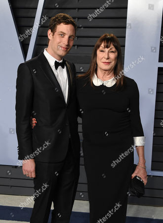 James Jagger, Anjelica Huston. James Jagger, left, and Anjelica Huston arrive at the Vanity Fair Oscar Party, in Beverly Hills, Calif