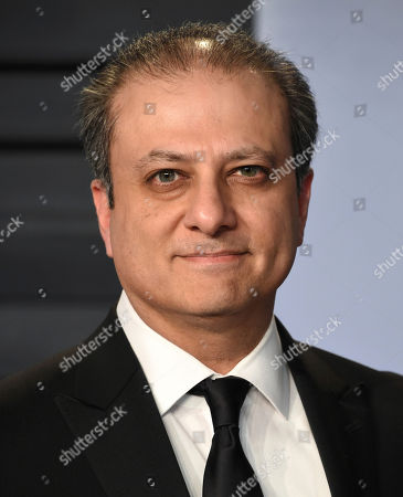 Preet Bharara arrives at the Vanity Fair Oscar Party, in Beverly Hills, Calif