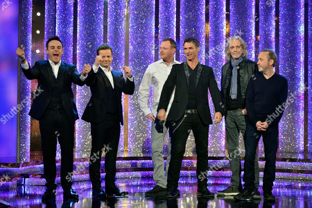 Anthony McPartlin and Declan Donnelly, with Michael Sheen and members of pop band Wet Wet Wet - Marti Pellow, Graeme Clark, Tommy Cunningham and Neil Mitchell.