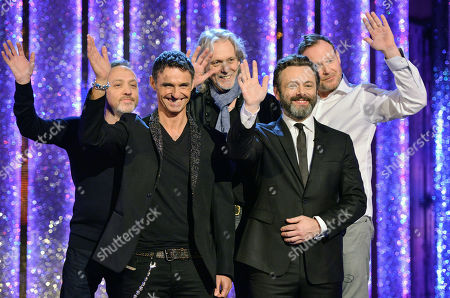 Michael Sheen and members of pop band Wet Wet Wet - Marti Pellow, Graeme Clark, Tommy Cunningham and Neil Mitchell.