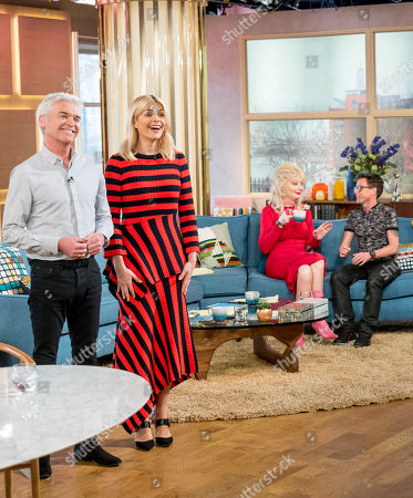 Stock Picture of Phillip Schofield and Holly Willoughby with Lauren Harries and Bruce Hills