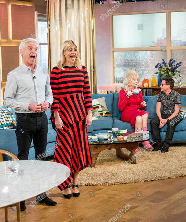 Stock Photo of Phillip Schofield and Holly Willoughby with Lauren Harries and Bruce Hills