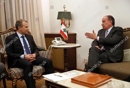 Aloysio Nunes Ferreira, Gibran Bassil. Lebanese Foreign Minister Gibran Bassil, left, meets with his Brazilian counterpart Aloysio Nunes Ferreira, in Beirut, Lebanon