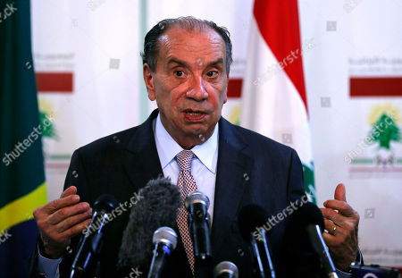 Brazilian Foreign Minister Aloysio Nunes Ferreira, speaks during a press conference with his Lebanese counterpart Gibran Bassil, in Beirut, Lebanon, . Ferreira is in Lebanon to meet with Lebanese officials