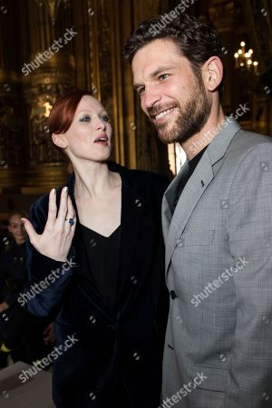 Arnaud Valois, Arnaud Valois. Karen Elson and Arnaud Valois pose for photographers prior to the Stella McCartney ready-to-wear fall/winter 2018/2019 fashion collection presented in Paris