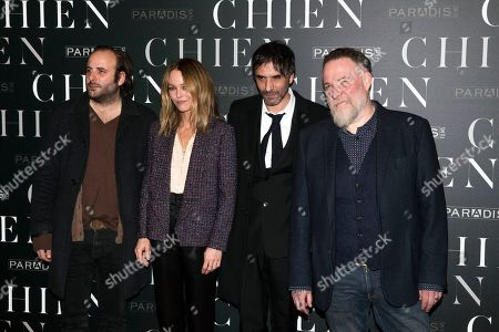"""Stock Image of From left, French actor Vincent Macaigne, French actress Vanessa Paradis, French film director Samuel Benchetrit and French actor Bouli Lanners pose as they arrive for the premiere of """"Chien"""" in Paris"""