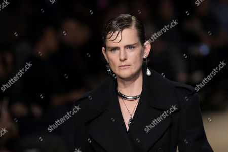 Model Stella Tennant wears a creation for the Alexander McQueen ready-to-wear fall/winter 2018/2019 fashion collection presented in Paris