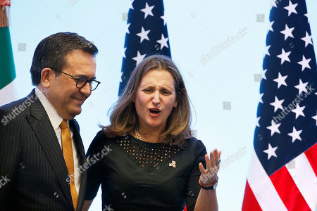 Ildefonso Guajardo Villarreal, Chrystia Freeland. Mexico's Secretary of Economy Ildefonso Guajardo Villarreal, left, and Canadian Foreign Affairs Minister Chrystia Freeland, pose for a photo at a press conference regarding the seventh round of NAFTA renegotiations in Mexico City