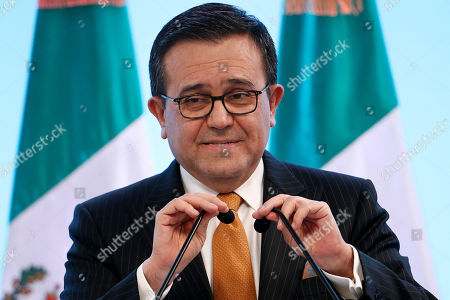 Stock Picture of Mexico's Secretary of Economy Ildefonso Guajardo Villarreal speaks during a press conference regarding the seventh round of NAFTA renegotiations in Mexico City