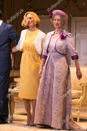 Honeysuckle Weeks (Mabel Cantwell) and Maureen Lipman (Mrs Gamadge) during the curtain call