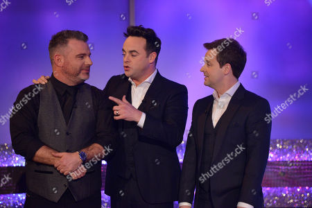 Anthony McPartlin & Declan Donnelly with studio warm up comedian Andy Collins