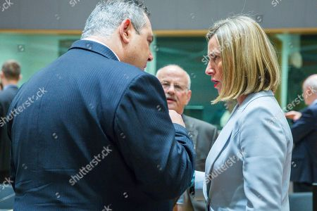 Panos Kammenos - Greek Defence Minister and Federica Mogherini - European Union foreign policy chief