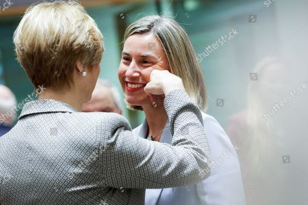 Roberta Pinotti - Italian Defence Minister and Federica Mogherini - European Union foreign policy chief