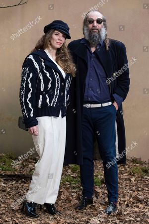 Amandine de la Richardiere, Sebastien Tellier. Amandine de la Richardiere and Sebastien Tellier pose for photographers prior to the Chanel ready-to-wear fall/winter 2018/2019 fashion collection presented in Paris