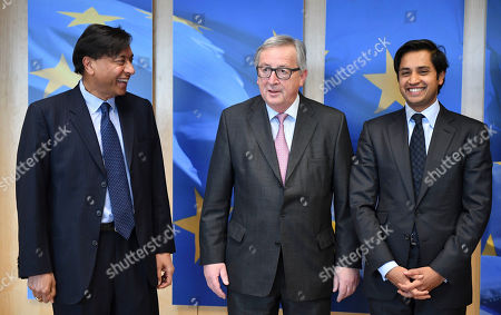 Stock Photo of Lakshmi Mittal, center, CEO of ArcelorMittal, and his son Aditya Mittal, right, are greeted by European Commission President Jean-Claude Juncker prior to a meeting at EU headquarters in Brussels on