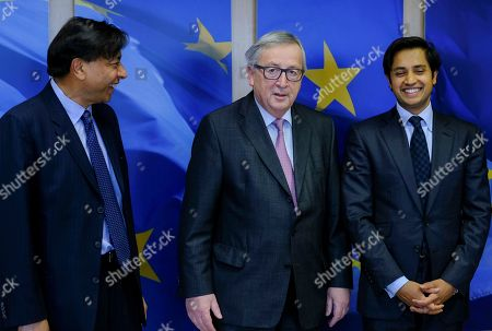 World's largest integrated steel and mining company ArcelorMittal's chairman and CEO, Lakshmi N. Mittal (L), CFO and CEO of ArcelorMittal Europe Aditya Mittal (R) are welcomed by EU commission President Jean-Claude Juncker prior to a meeting in Brussels, Belgium, 06 March 2018. The meeting is scheduled to focus on Donald Trump?s planned import tarif of steel.