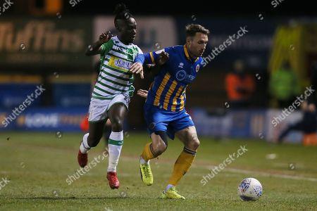 Alex Rodman of Shrewsbury Town and Jordan Green of Yeovil Town