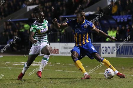 Omar Beckles of Shrewsbury Town and Jordan Green of Yeovil Town