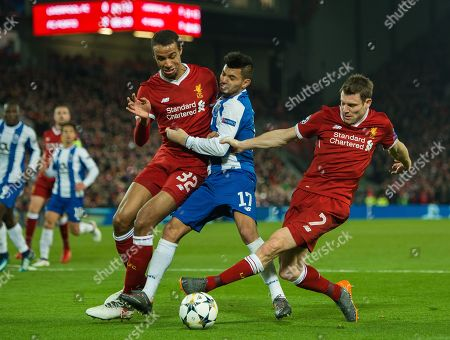 Jesus Manuel Corona of FC Porto (C) in action with James Milner of Liverpool  (R) and Joel Matip (L) during the UEFA Champions League round of 16 second leg soccer match held at Anfield, Liverpool, Britain, 6 March 2018.