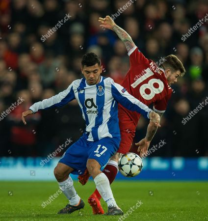 Jesus Manuel Corona of FC Porto (L) in action with Alberto Moreno of Liverpool (R) during the UEFA Champions League round of 16 second leg soccer match held at Anfield, Liverpool, Britain, 6 March 2018.