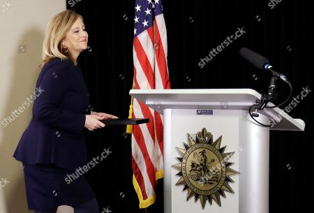 Nashville Mayor Megan Barry walks to the podium to announce her resignation, in Nashville, Tenn. Barry resigned after pleading guilty to stealing thousands of dollars from the city while carrying on an extramarital affair with her bodyguard