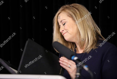 Nashville Mayor Megan Barry closes her speech after announcing her resignation, in Nashville, Tenn. Barry resigned after pleading guilty to stealing thousands of dollars from the city while carrying on an extramarital affair with her bodyguard