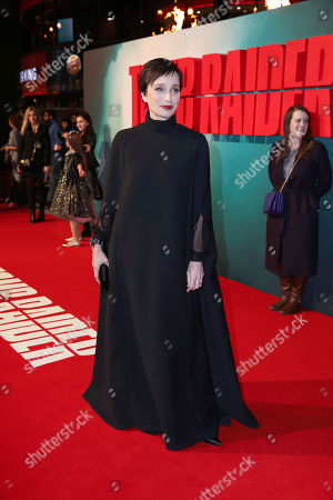 Actress Kristin Scott Thomas poses for photographers on arrival at the premiere of the film 'Tomb Raider', in London