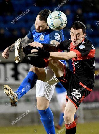 Glenavon vs Crusaders. Glenavons Andrew Doyle in action with Crusaders Paul Heatley