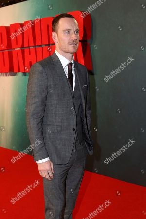 Stock Image of Actor MIchael Fassbender poses for photographers on arrival at the premiere of the film 'Tomb Raider', in London