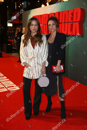 Loanne Collyer, Jordan Collyer. DJs Loanne and Jordan Collyer pose for photographers on arrival at the premiere of the film 'Tomb Raider', in London