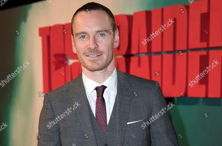 Stock Photo of Actor MIchael Fassbender poses for photographers on arrival at the premiere of the film 'Tomb Raider', in London
