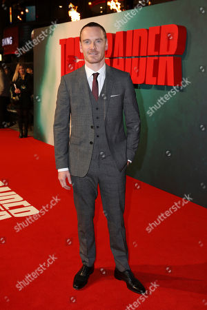 Stock Picture of Actor MIchael Fassbender poses for photographers on arrival at the premiere of the film 'Tomb Raider', in London