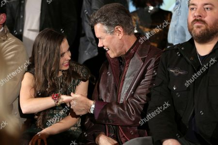 """Sierra Hull, Randy Travis. From left, artists Sierra Hull and Randy Travis greet one another at the """"American Currents: The Music of 2017"""" exhibit opening at the Country Music Hall of Fame and Museum, in Nashville, Tenn"""