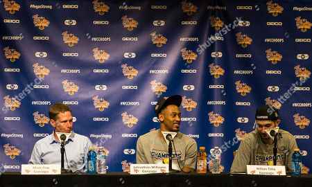 Las Vegas, NV, U.S.A. Gonzaga Bulldogs head coach Mark Few, forward Johnathan Williams (3) and forward Killian Tillie (33)during the press conference after the NCAA Gorilla Glue West Coast Conference Men's Basketball championship game between BYU Cougars and Gonzaga Bulldogs 74-54 win at Orleans Arena Las Vegas, NV. Thurman James / CSM