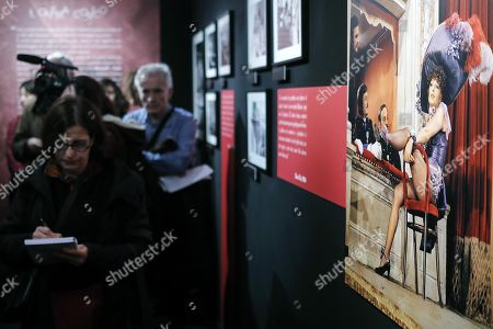 Stock Image of A view inside the photo exhibition 'La dolce Vitti' on Italian actress Monica Vitti at Teatro dei Dioscuri at Quirinal Palace in Rome, Italy, 07 March 2018. The exhibition runs from 08 March to 10 June. Monica Vitti is best known for her roles in films in the early 1960s.