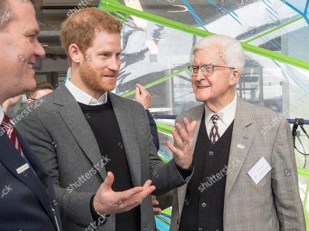 Stock Picture of Prince Harry chats to former Secretary of State for Education Kenneth Baker, now Lord Baker of Dorking